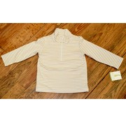 Zuccini Basic Knit Pullover Half Zip Jacket in Khaki Stripe
