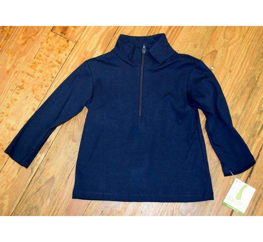 Basic Knit Pullover Half Zip Jacket in Navy