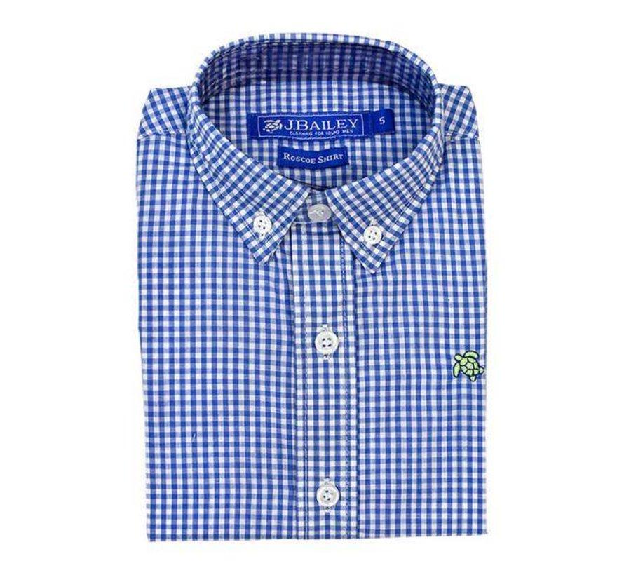 Cadet Blue Check Button Down Shirt