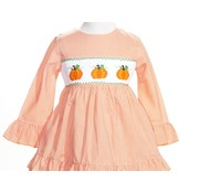 Orange Gingham Smocked Pumpkins 2 piece Ruffle Pants Set
