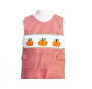 Orange Gingham Pumpkin Smocked Longall