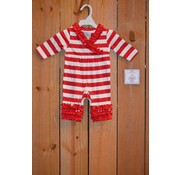 Three Sisters Red and White Rouched Knit Romper