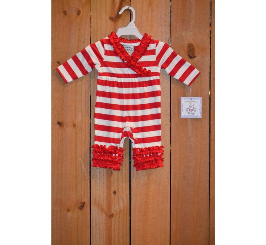 Red and White Rouched Knit Romper