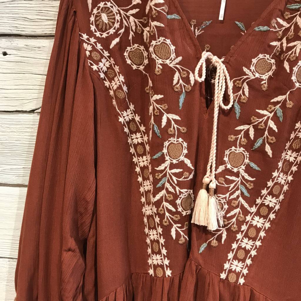 Free People Wild Dreams Tunic red
