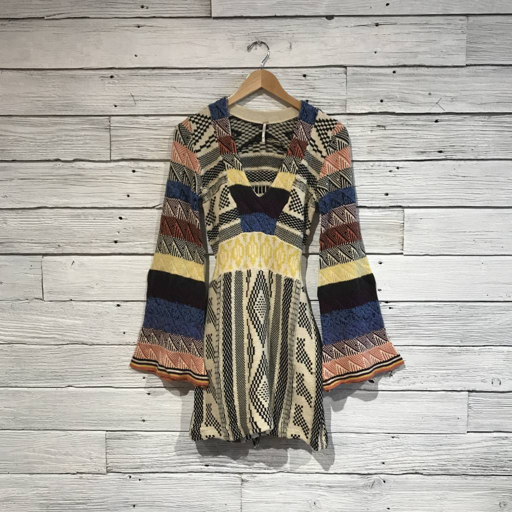 Free People Patchwork Sweater Dress Navy