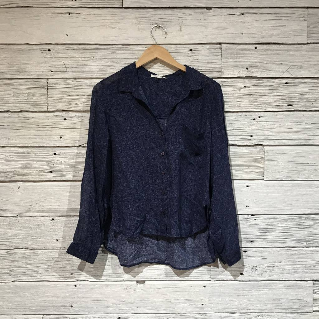 Bella Dahl Rounded Hem Button Down navy