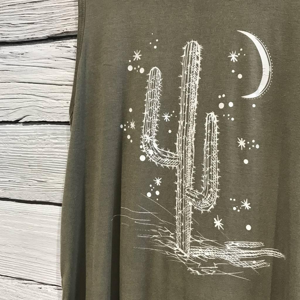 Cactus Graphic Tank Top sage green