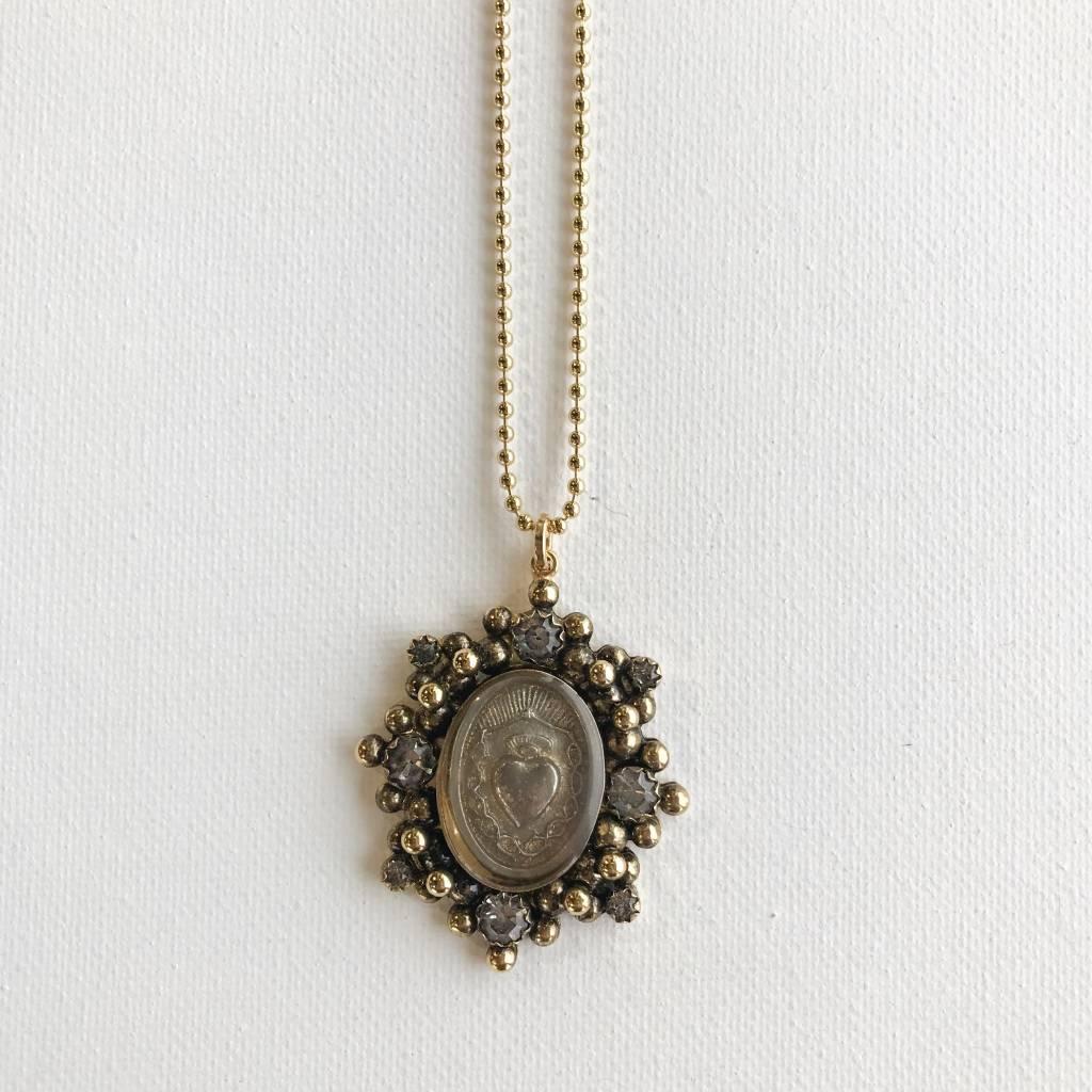 Virgins Saints & Angels Sacred Heart Oval gold chain