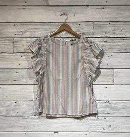 Beach Stripe Ruffle Top