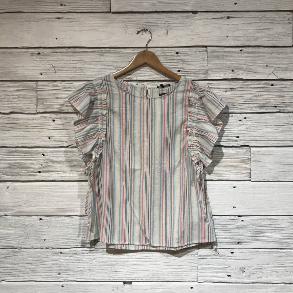 Beach Stripe Ruffle Sleeve Top multi white