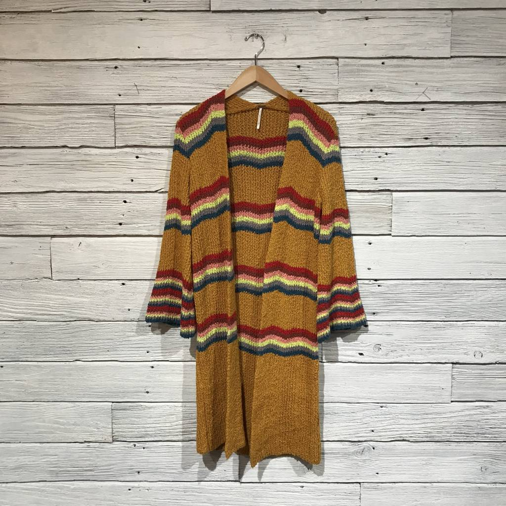 Free People Winding Road Cardi Yellow Combo