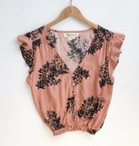 Ruffle Sleeve Rose Button Top