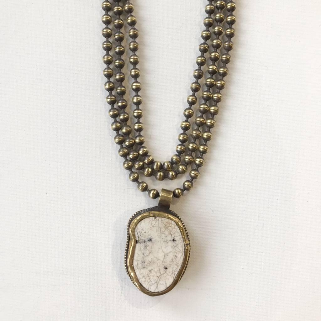 reversible  white turq drop necklace