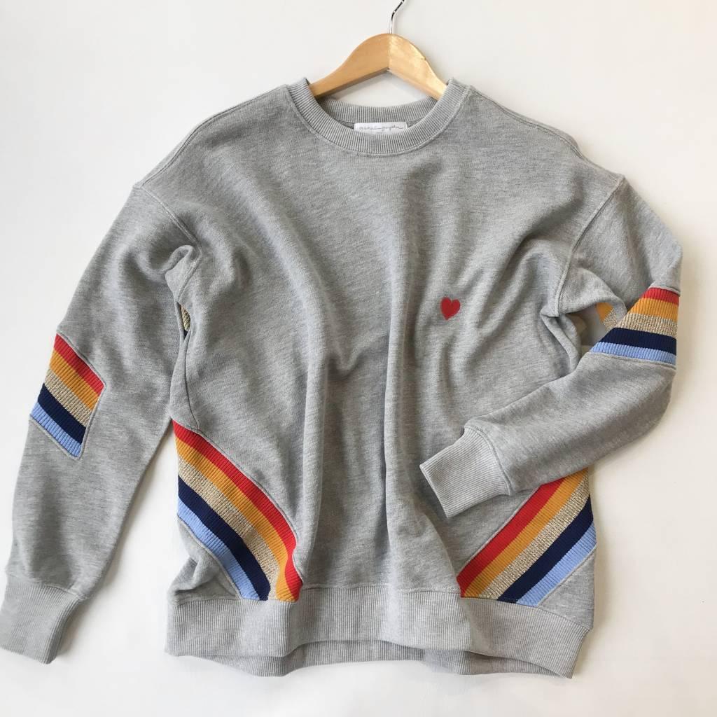 spiritual gangster heart stripe crew neck sweatshirt