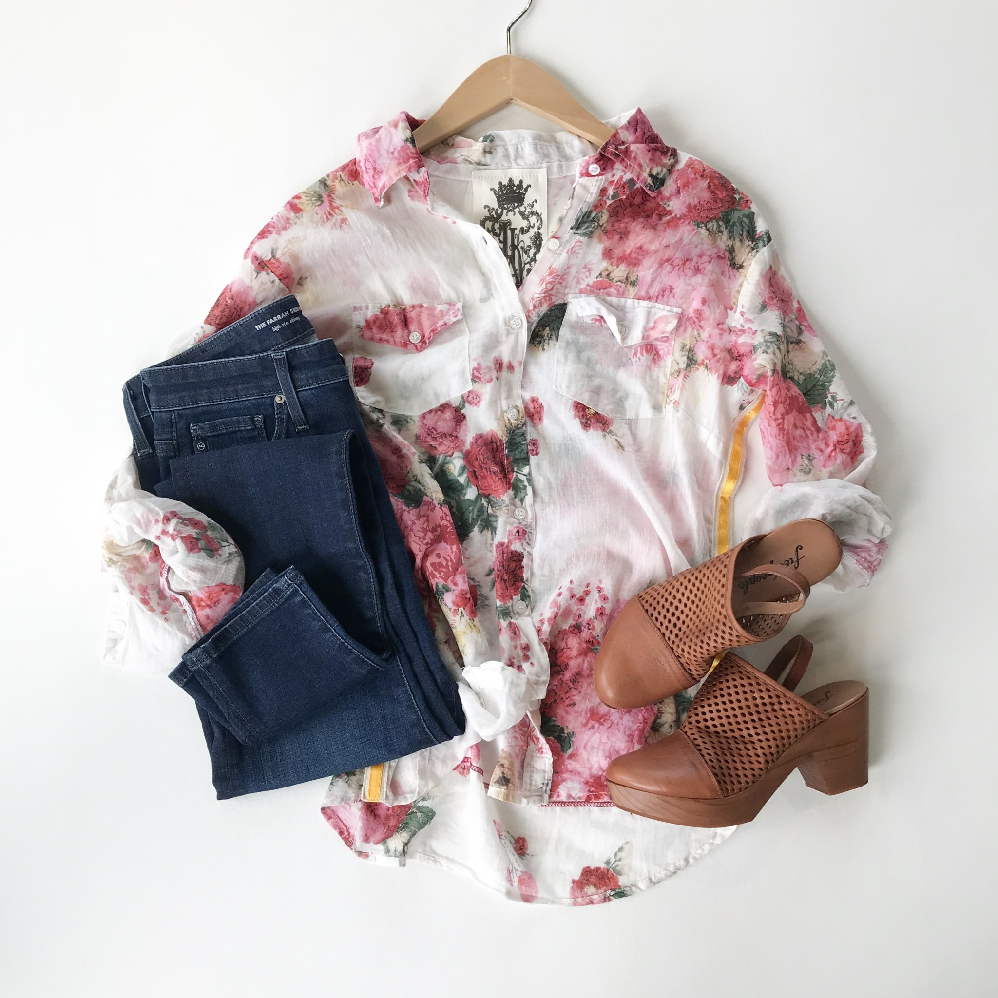 Floral Ribbon side button up