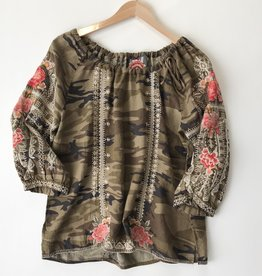 Johnny Was paola Camo peasant tie blouse