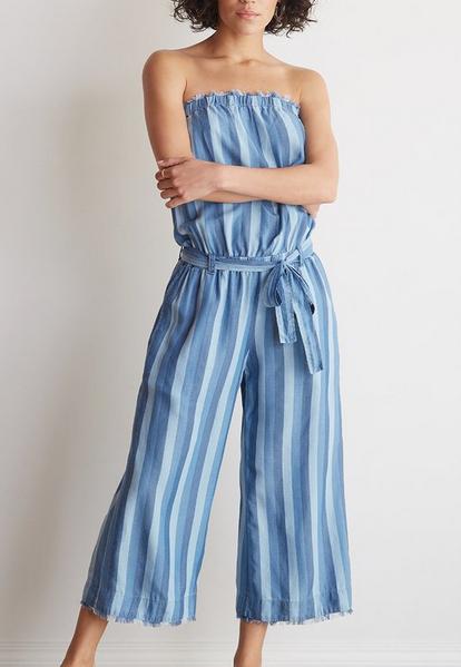 Bella Dahl strapless frayed crop jumpsuit