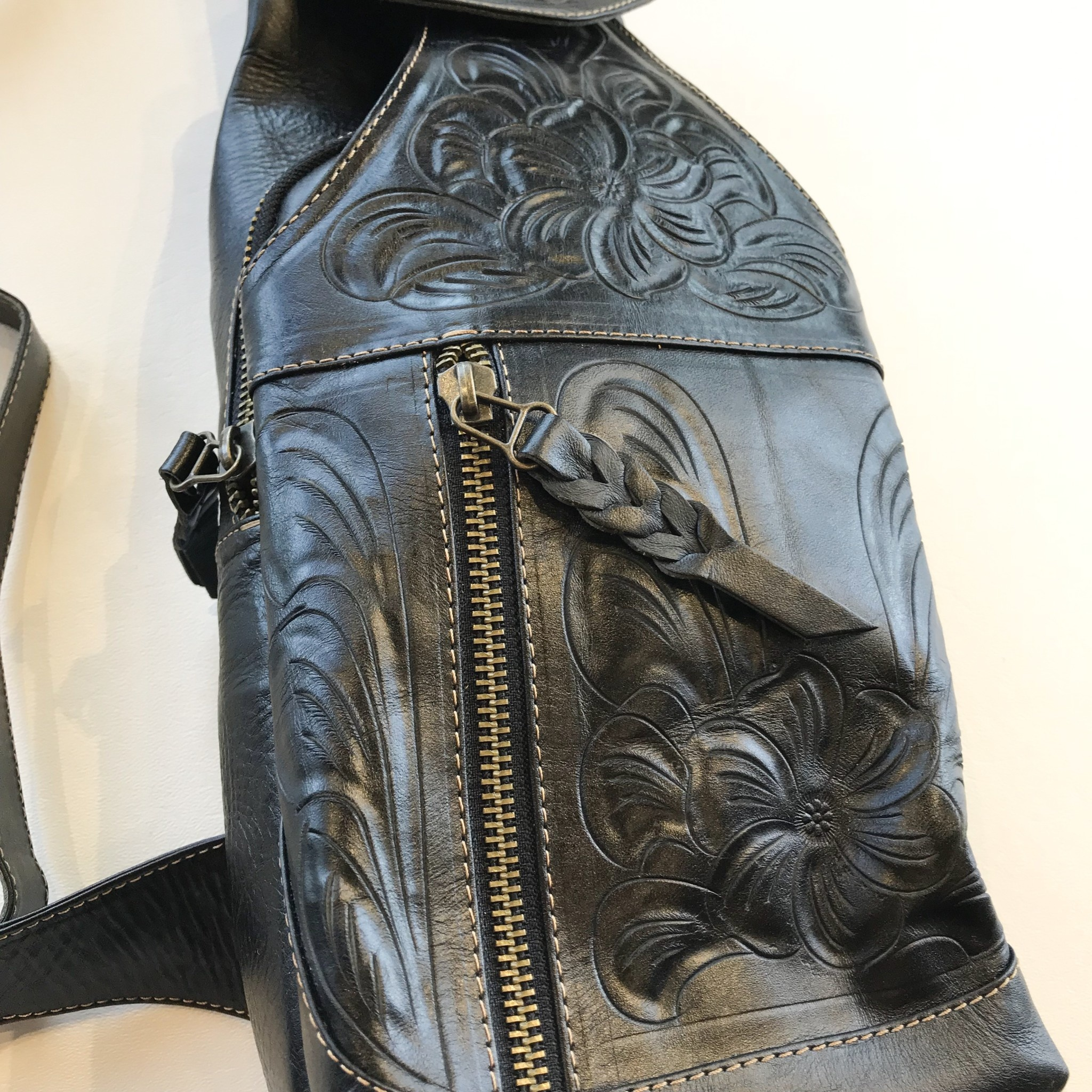 Leaders in Leather crossbody utility bag waxed leather tooled