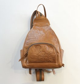 Leaders in Leather waxed leather tooled mini backpack
