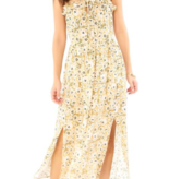 paisley front maxi dress with ruffle