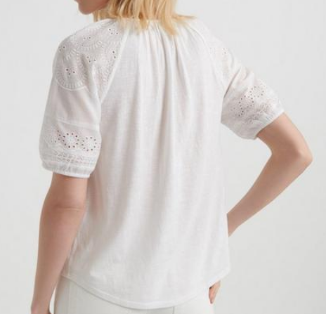 Lucky Brand embroidered cut out peasant top