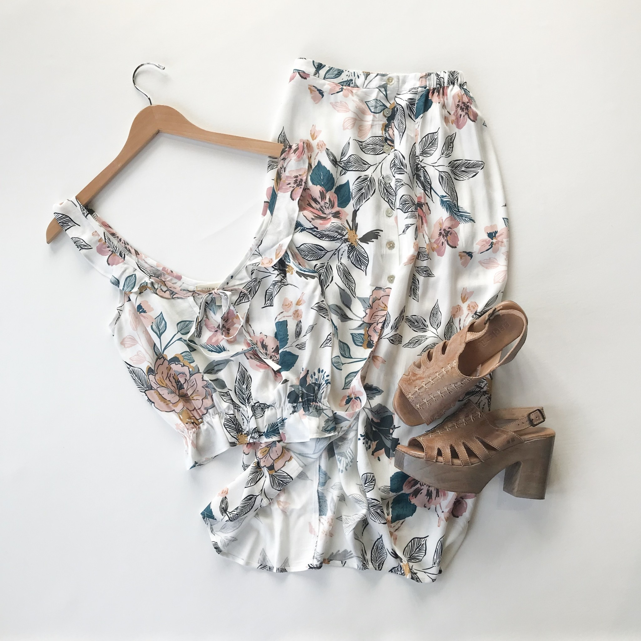 Orchid button midi skirt