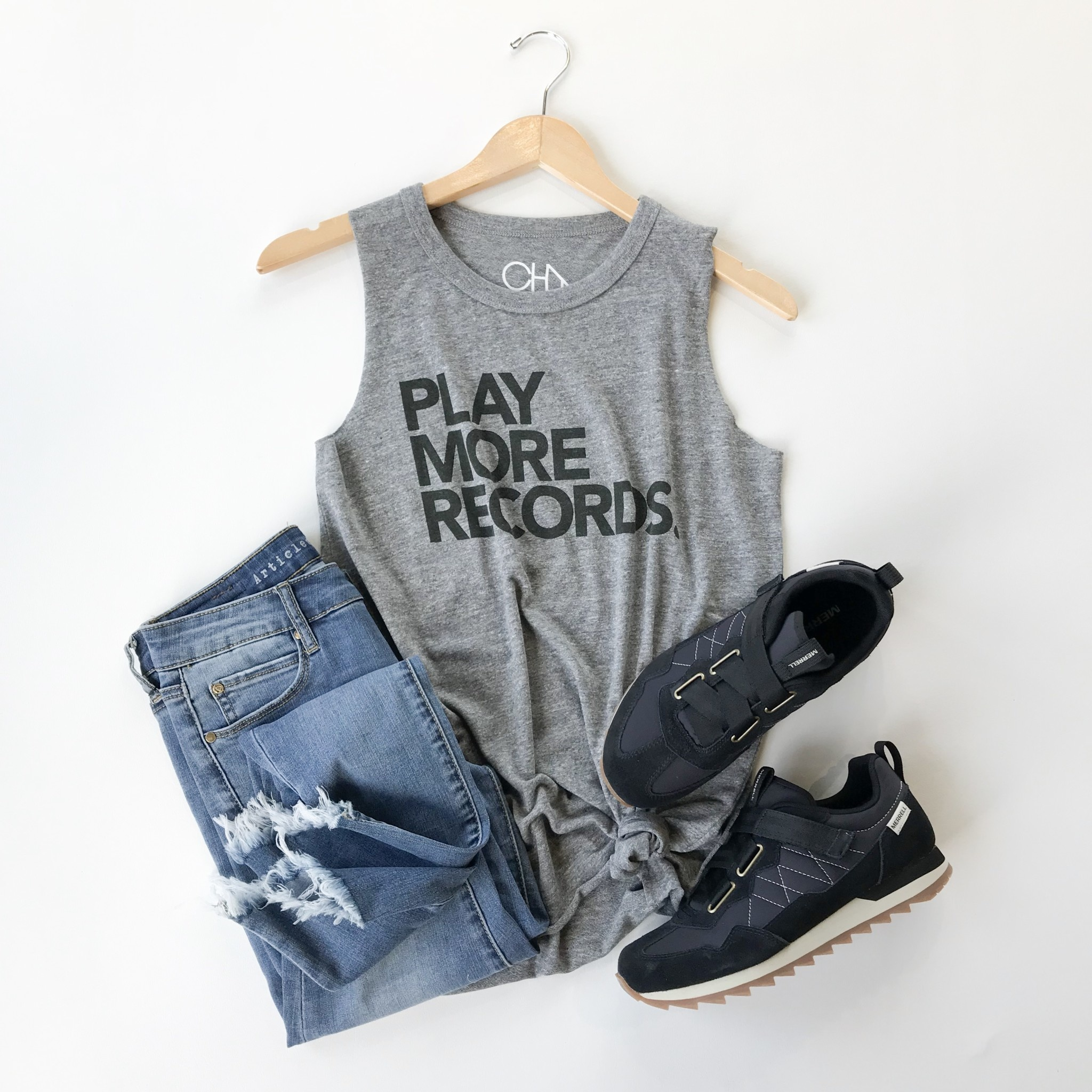 play more records graphic tank