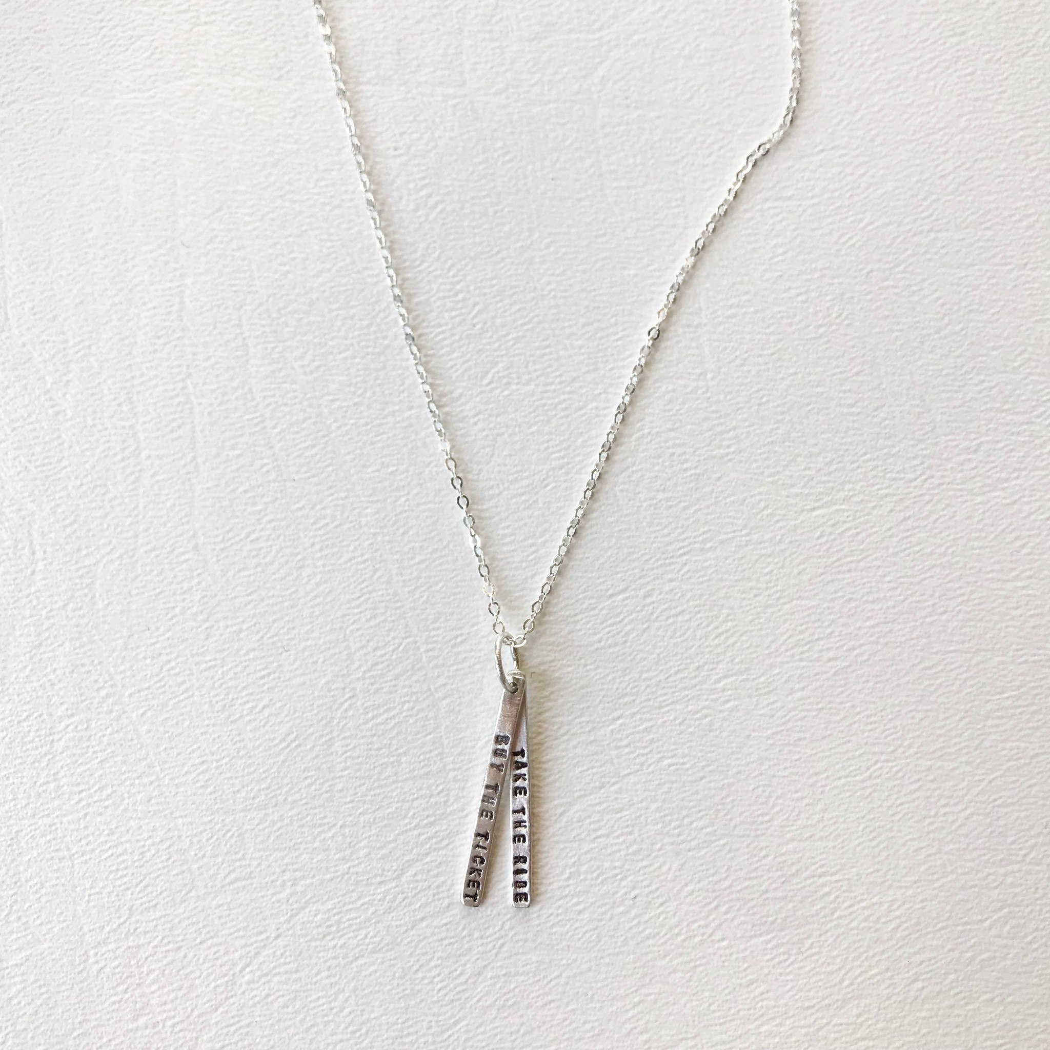2 bar buy the ticket take the ride necklace