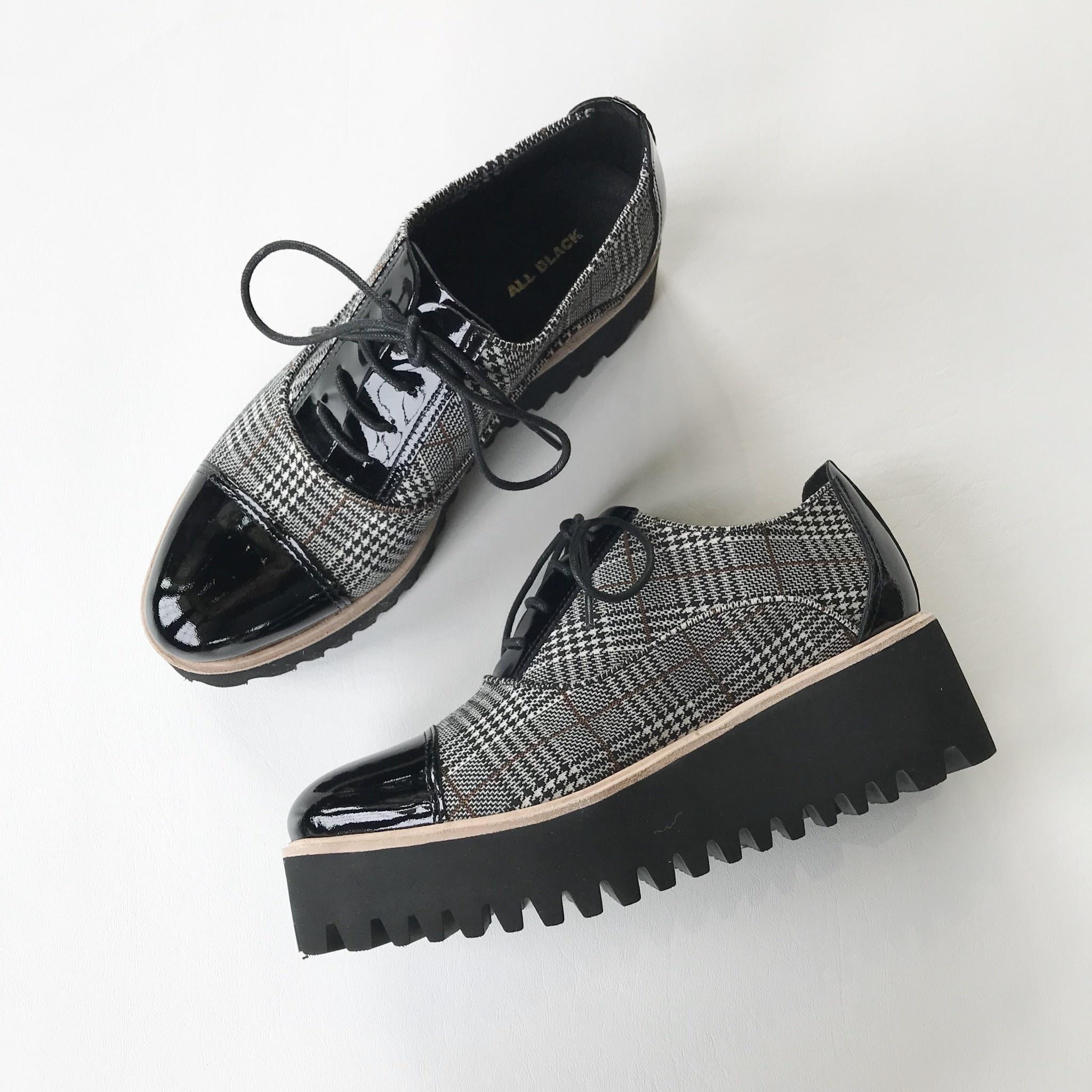 all black pat toe tweed