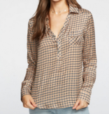 Chaser silky basics l/s henley shirt
