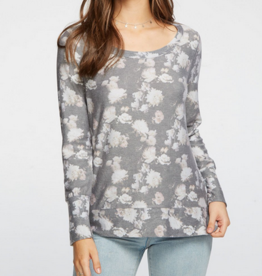 Chaser cozy knit floral pullover
