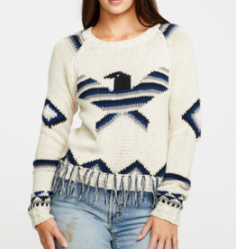 Chaser eagle fringe cropped sweater