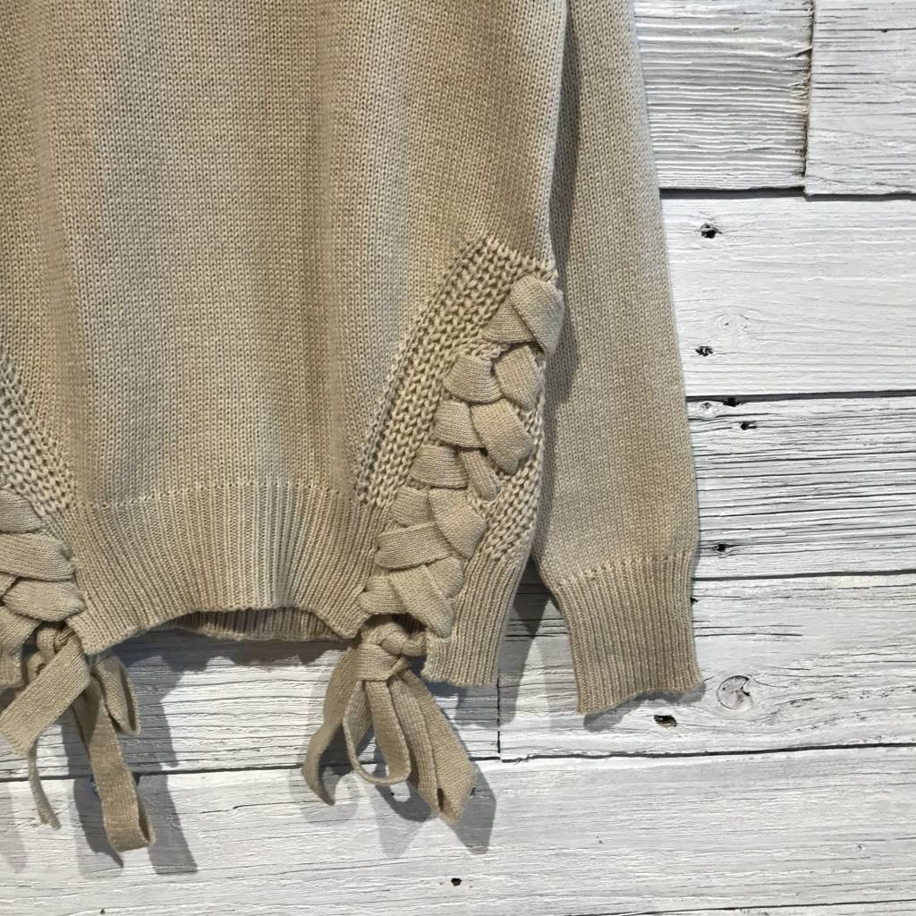 Bobi Lace Up Detail Sweater Heather