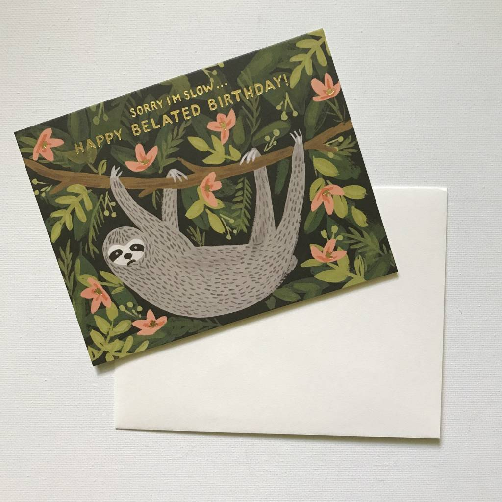 Rifle Paper Co. Blank Birthday Card Sloth Belated
