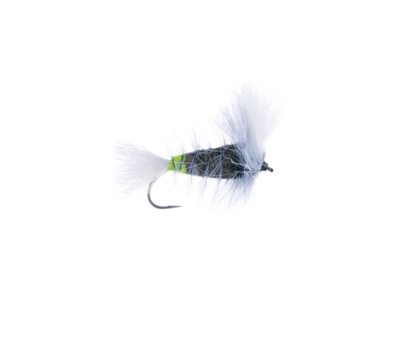 Green Olive-White Tail-Gray Hackle w. Fl. Green Butt (Wulff Bomber)