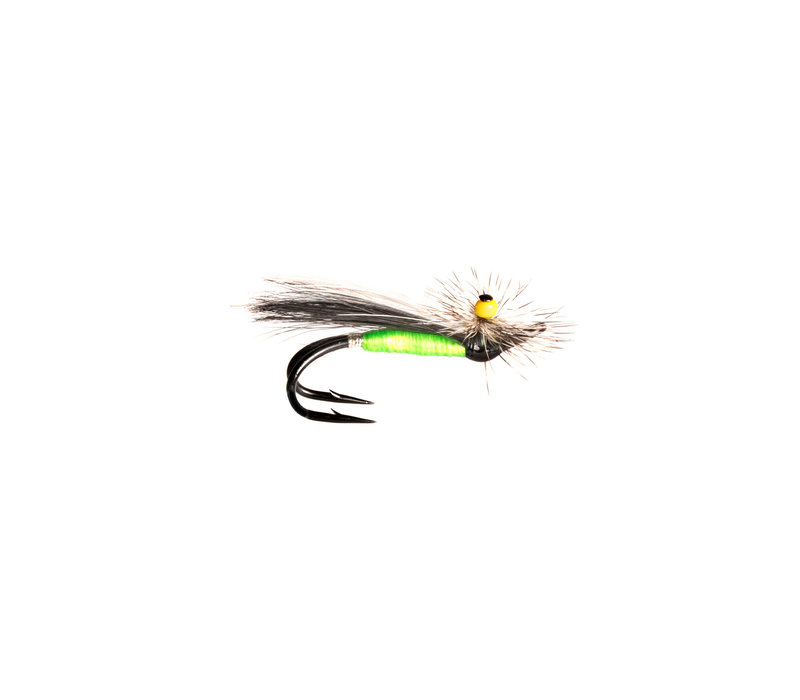 Ghost Stone Fly Green Body/Black Wing/w.Marabou/Grizzly Hackle (Black Double) #4