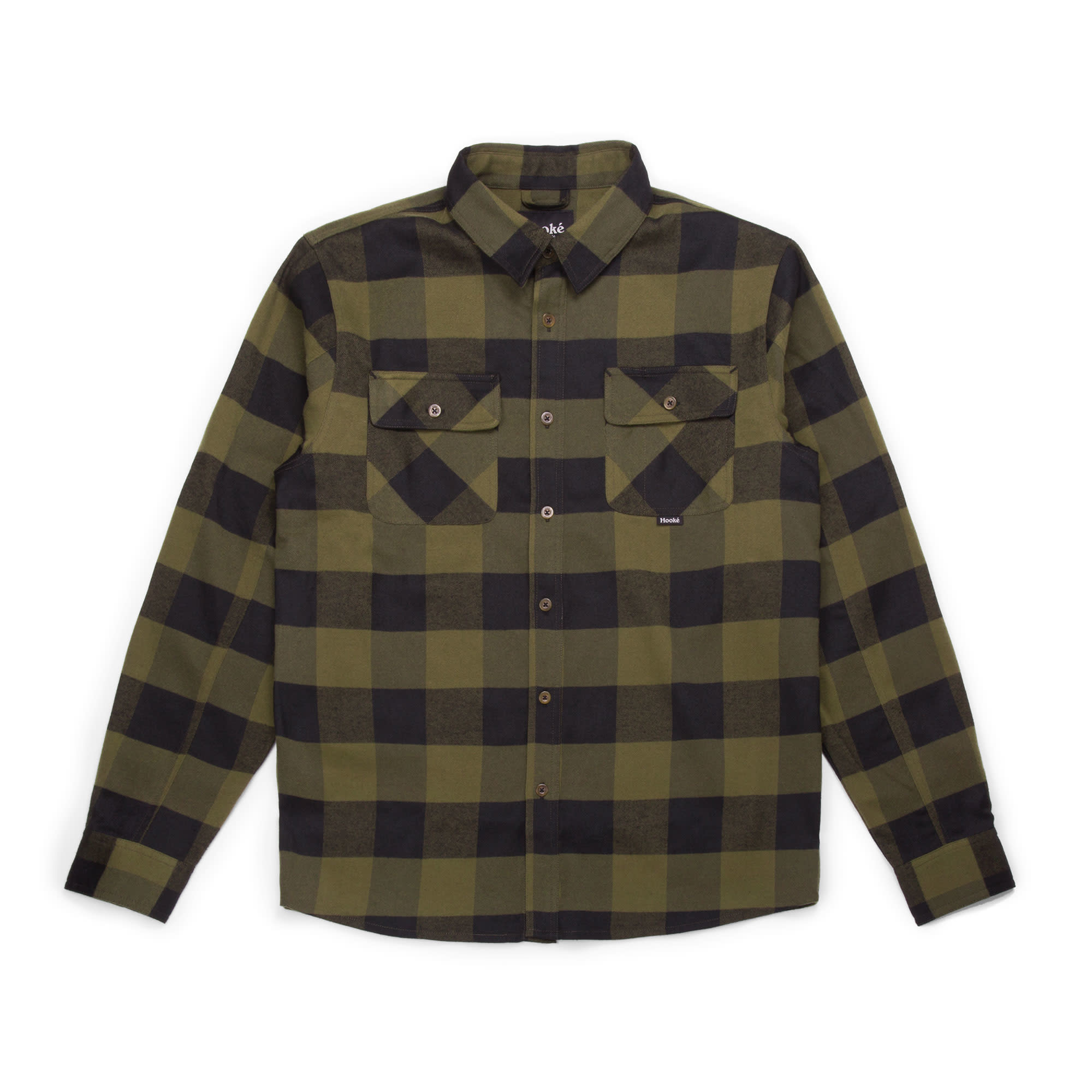 Canadian Flannel Shirt Military Green & Black Plaid