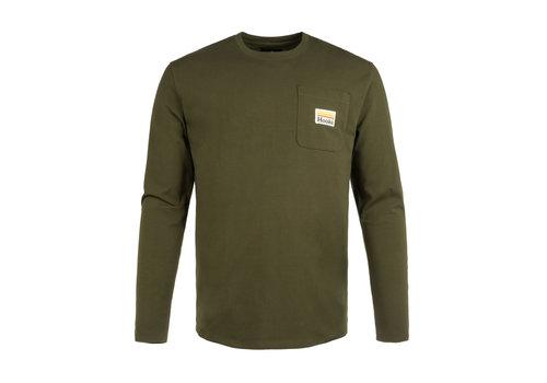 Hooké T-Shirt Manches Longues Retro avec Poche Olive