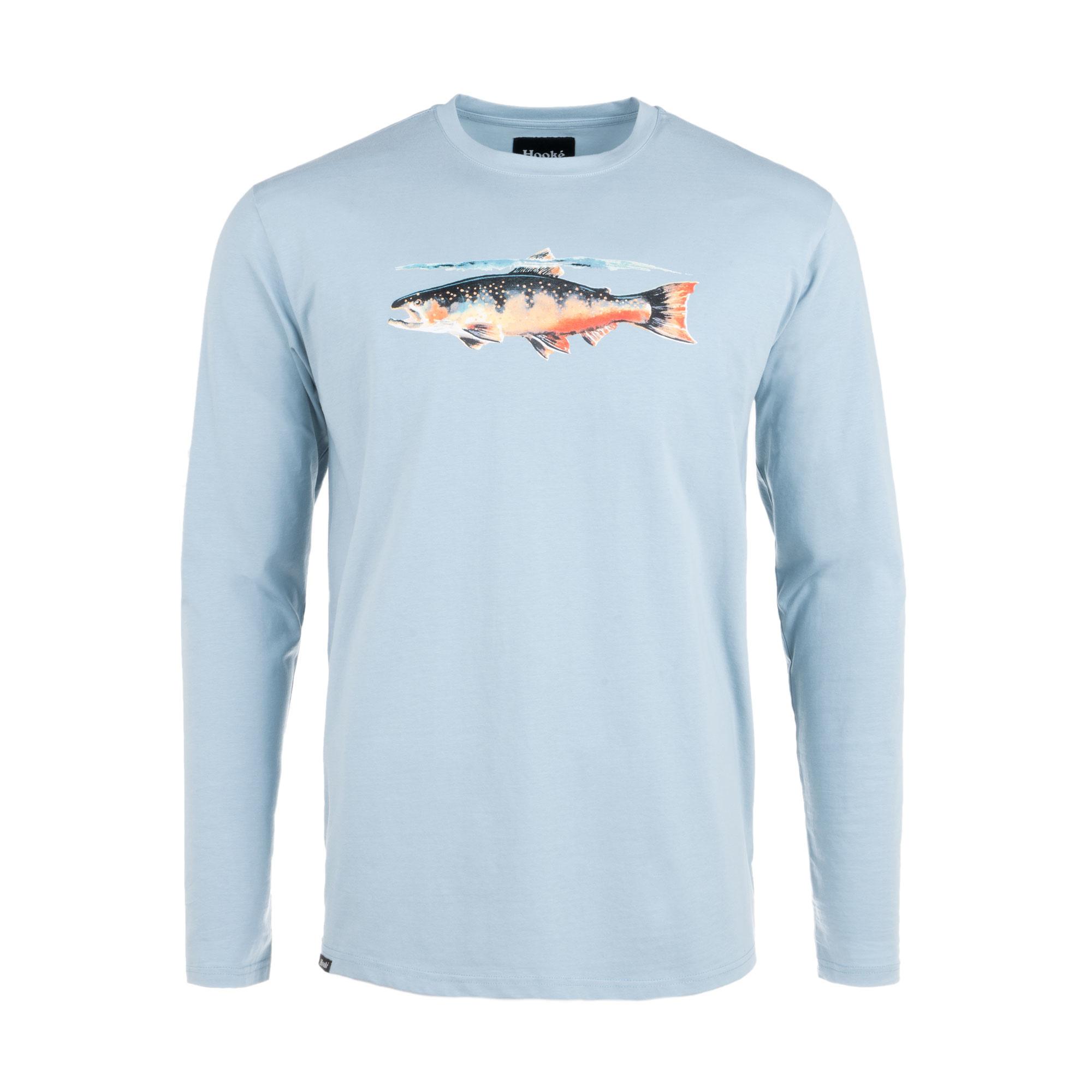 T-Shirt Truite Manches Longues Bleu Pierre