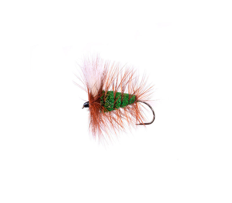 Green-White Tail-brown Hackle (Wulff Bomber #4