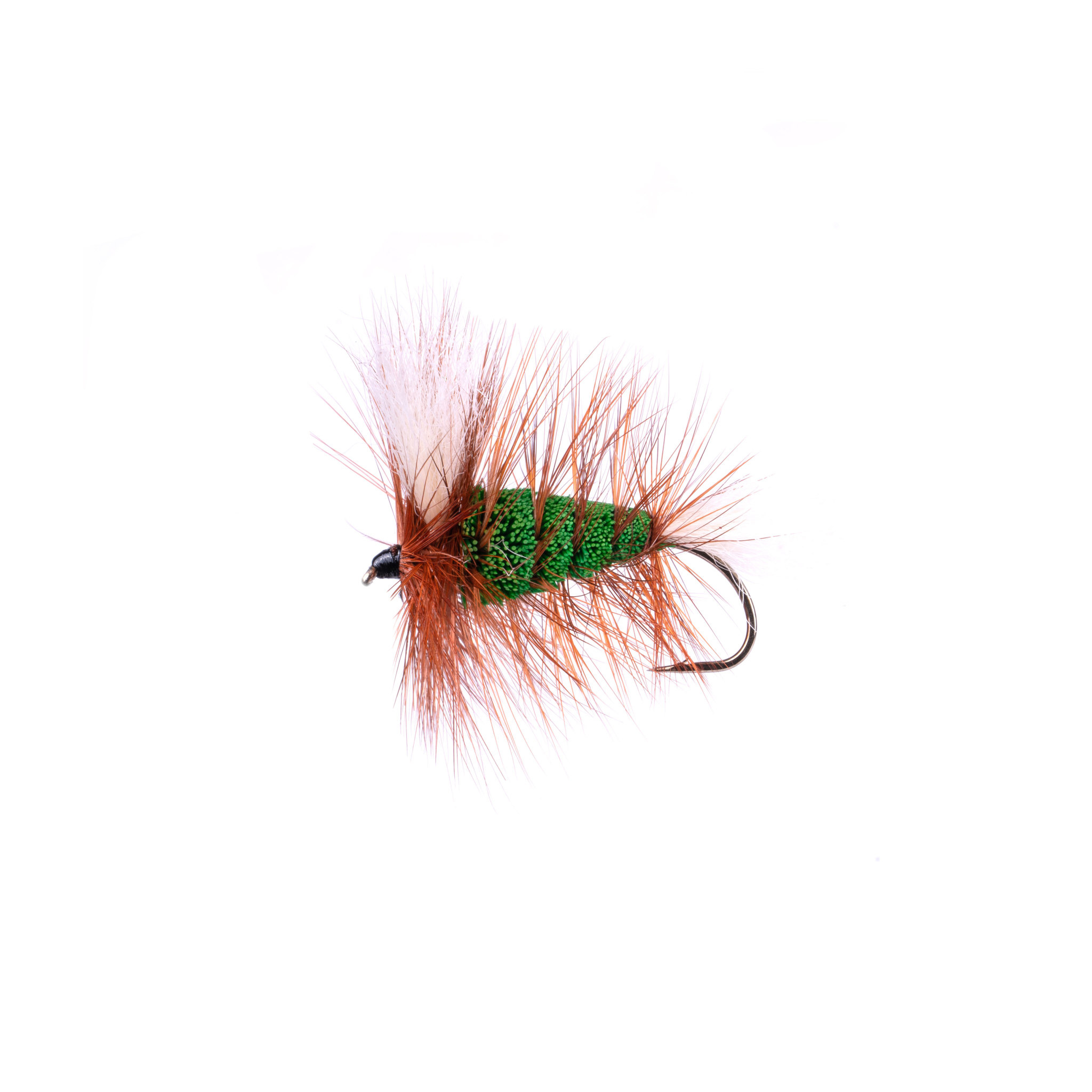 Green-With Tail-brown Hackle (Wulff Bomber #4