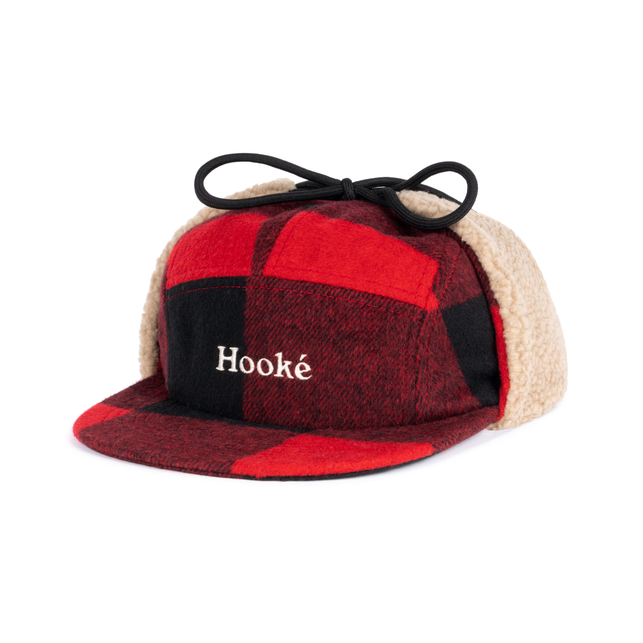 Hooké Ear Flap Camper Hat Red & Black
