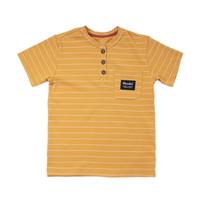 Henley Striped T-Shirt Ochre