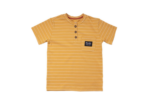 Henley Striped T-Shirt Ochre