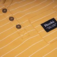 T-Shirt Rayé Henley Ocre