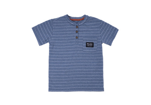 Henley Striped T-Shirt Steel Blue