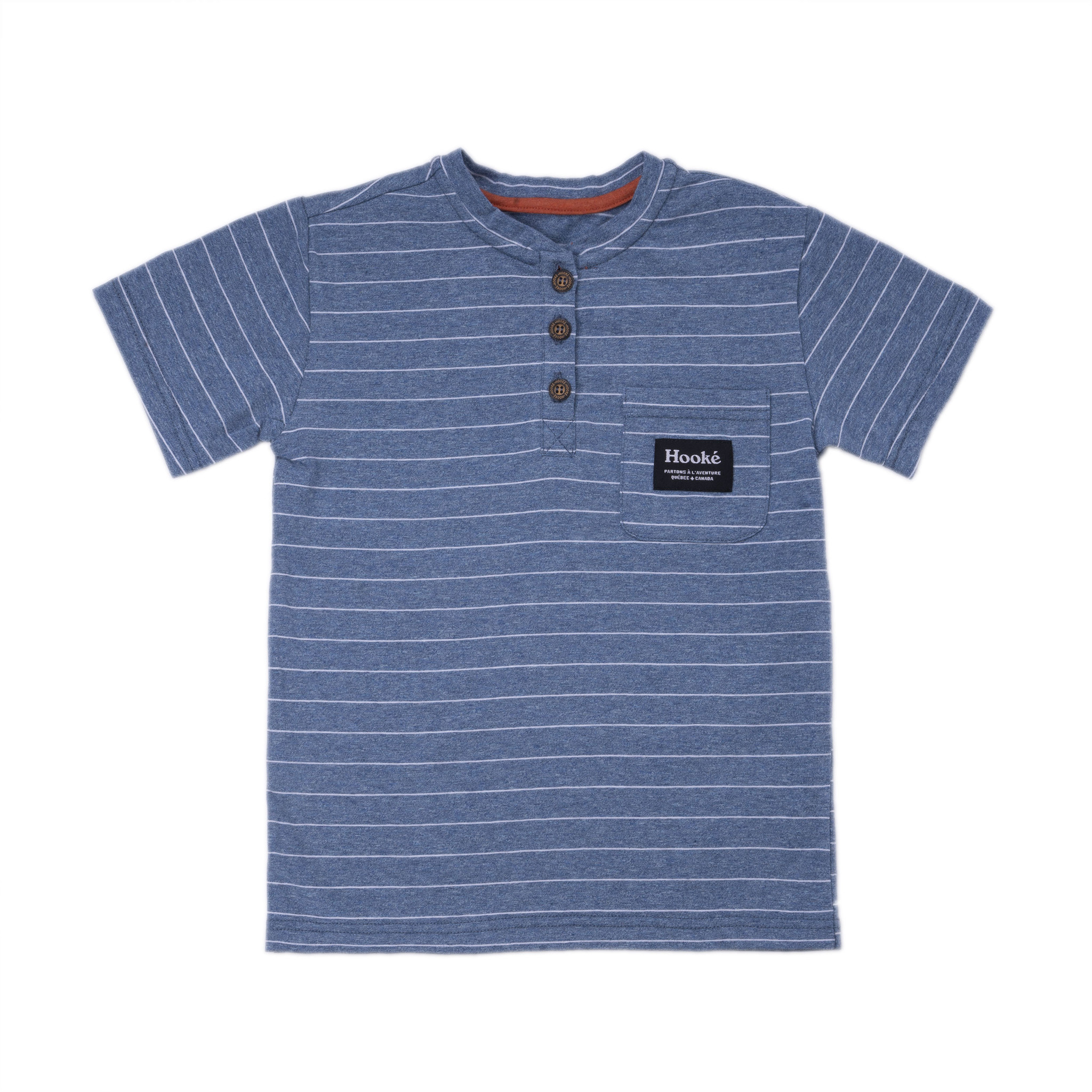 Henley Striped T-Shirt Steel Blue