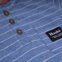T-Shirt Rayé Henley Bleu Acier