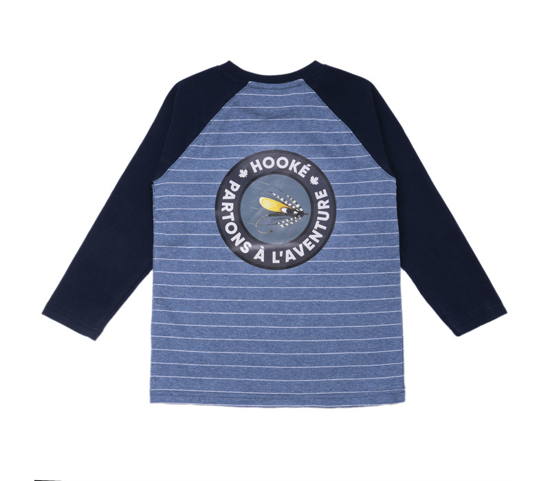 Adventure Striped Raglan Steel Blue