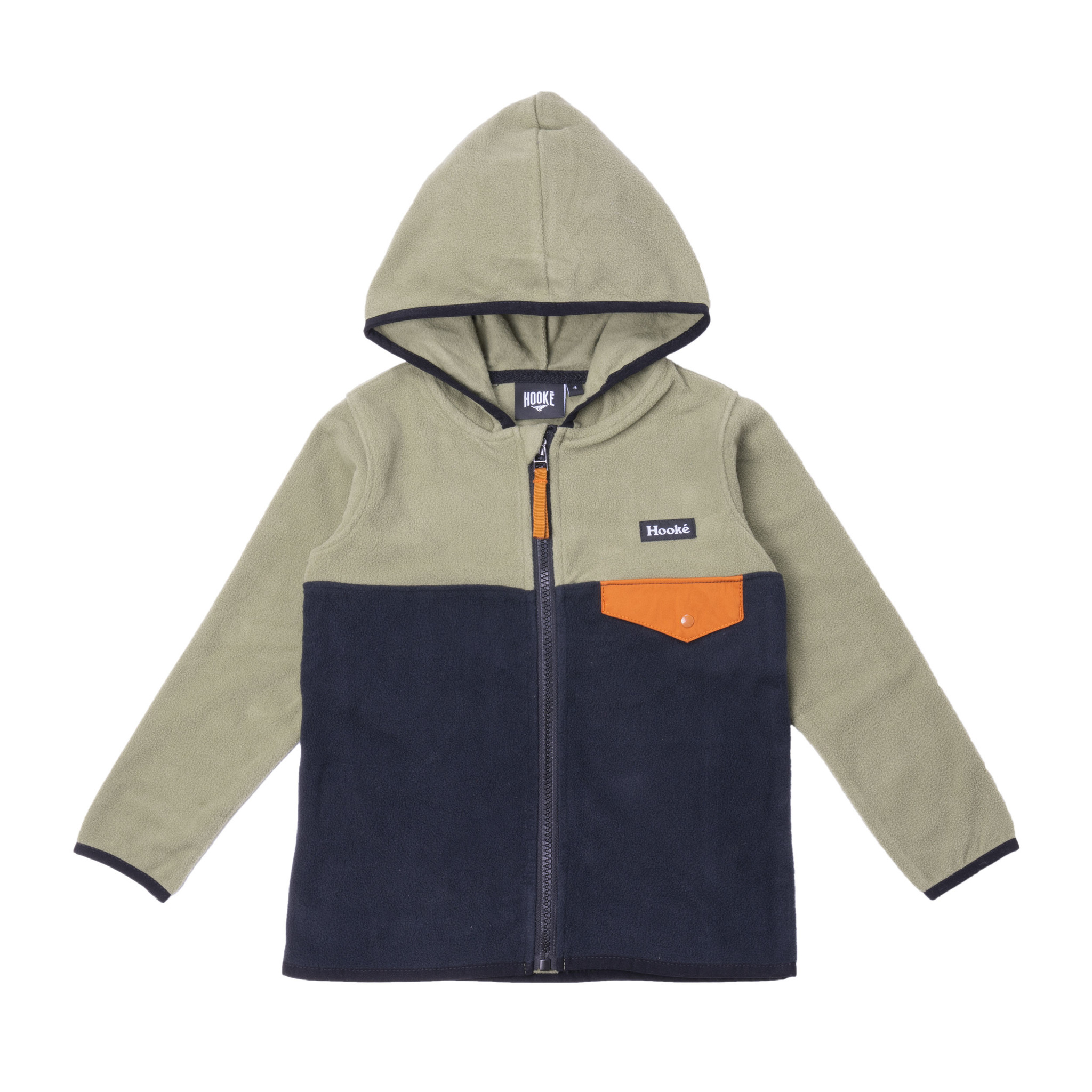 Kangaroo Zip Fleece Camping Olive-Navy